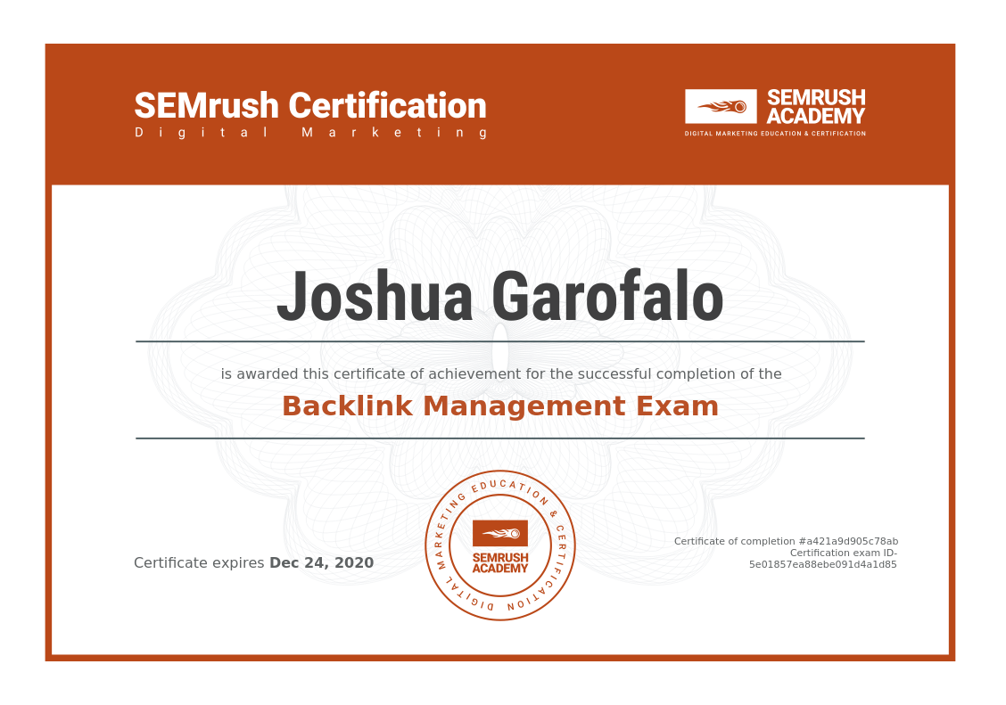 Backlink Management Exam Certificate